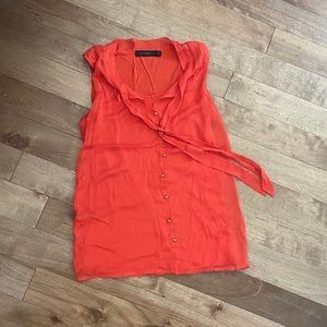 Orange button up sleeveless shirt with tie